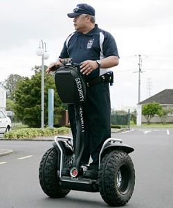 MIT guard Willem Thompson on a Segway x2 Police model