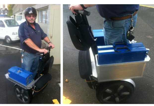 Locksmith Ian Steel and his customised Segway i180 at University of Canterbury