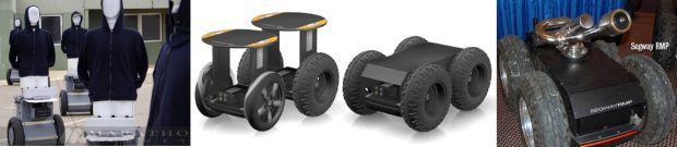 Segway RMP 200, 200 ATV and 400 models (middle). Marathon Targets (left) and Firefighting Water Cannon (right)