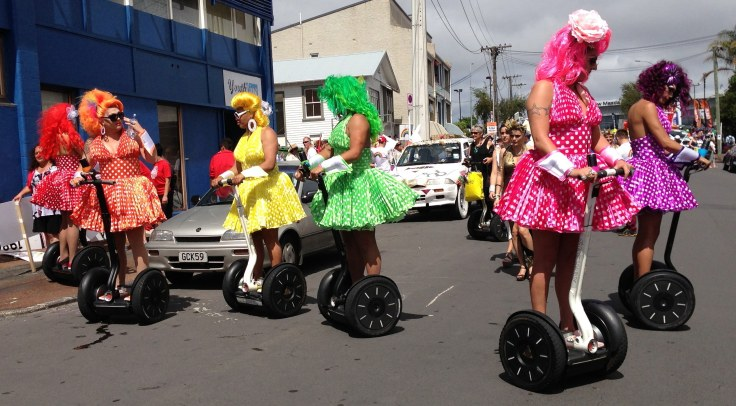 Drag Queens drag race on Segway PTs (Ponsonby, Auckland, New Zealand)
