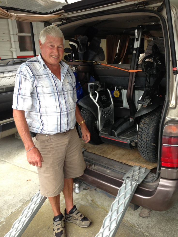 Bryan Moore is off to play golf, with his clubs and Segway x2 Golf stowed in his van