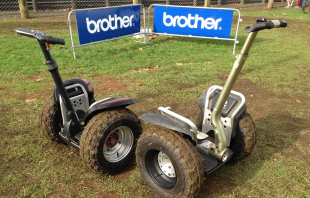Fun in the mud - a Segway x2 model and a Segway XT model ready to ride