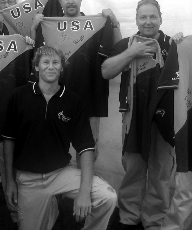 Pole Blacks Rod Drury and Philip Bendall (Captain) in Auckland, February 2007 at the world's first International Segway PT Polo match playing for the Woz Cup (donated by Apple co-founder Steve Wozniak).