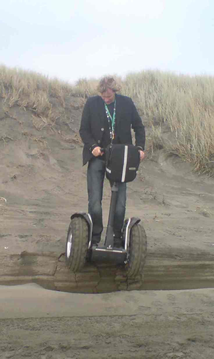 Testing the Segway XT in the sand dunes at the beach, Port Waikato, 2005