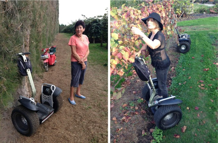 (Left) Segway x2 as part of the transportation mix on a Kiwifruit orchard in Tauranga. (Right) Inspecting grape vines is more productive on a Segway x2.