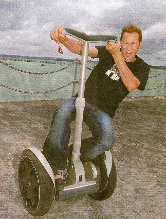 Philip Bendall launching the Segway Personal Transporter into New Zealand at Big Boys Toys 2003