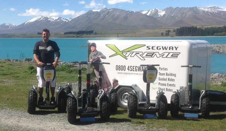 Tony Greenwood from Segway Xtreme and his fleet of six Segway x2 model Personal Transporters.