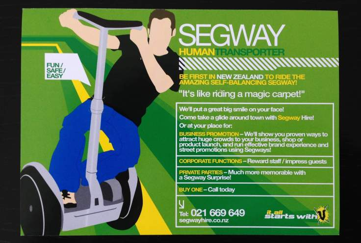 Flyer from 2003 inspired by our co-promotion with 'V' energy drink for our first business called Segway Hire