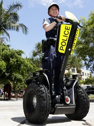 Segway Police patrols in popular tourist hot spot Noosa, Australia.