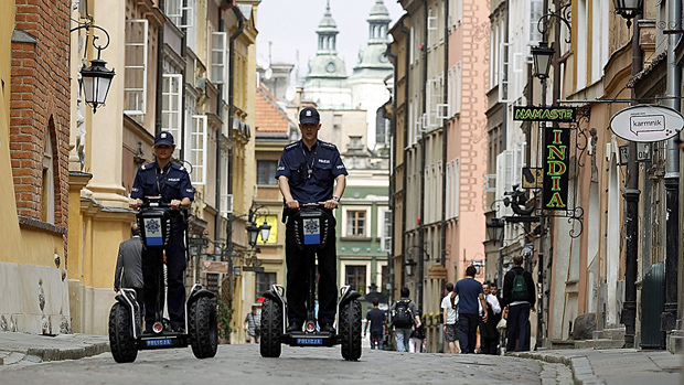 Royal Canadian Mounted Police swap steeds for Segway PTs in the city of Red Deer, Alberta, Canada in 2011.