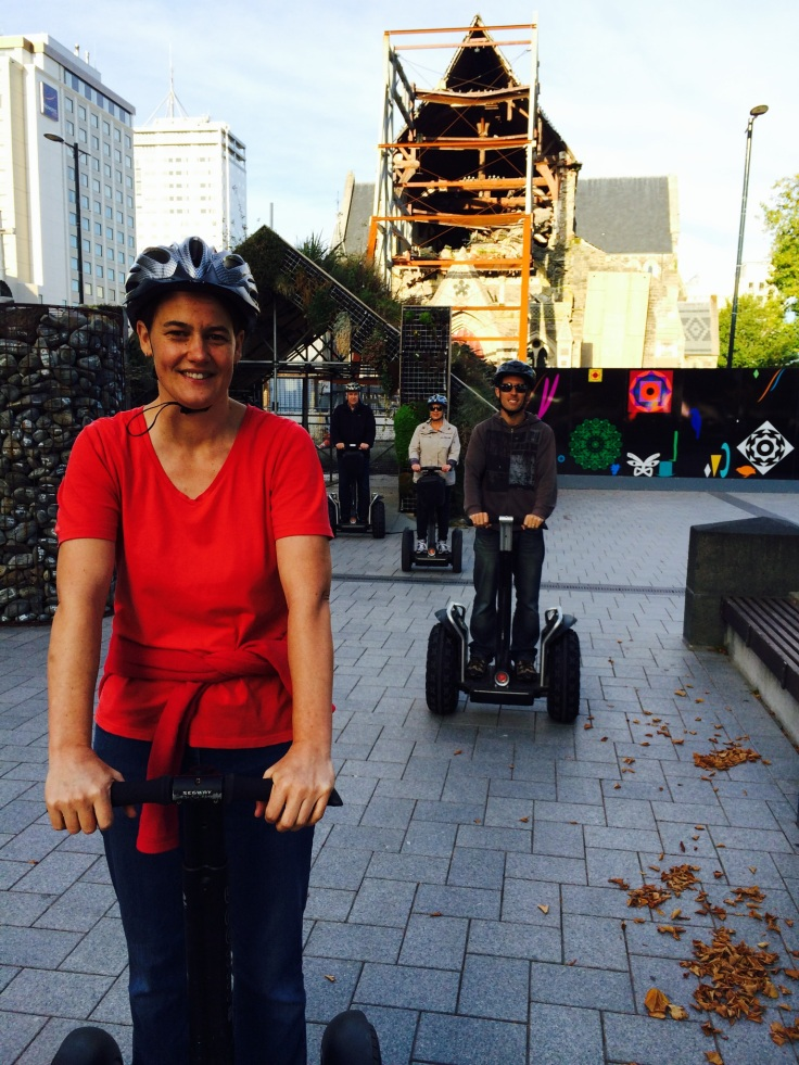 Christchurch Segway Tours: earthquake-damaged cathedral in the background.