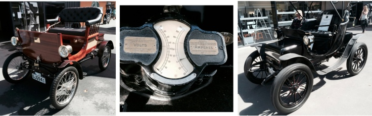 (Left) 1903 Lems Electric car. (Middle) Dashboard Volt meter and Ammeter. (Right) 1904 Baker Electric Carriage that has a 40 km/h top speed and driving time of 2 hours