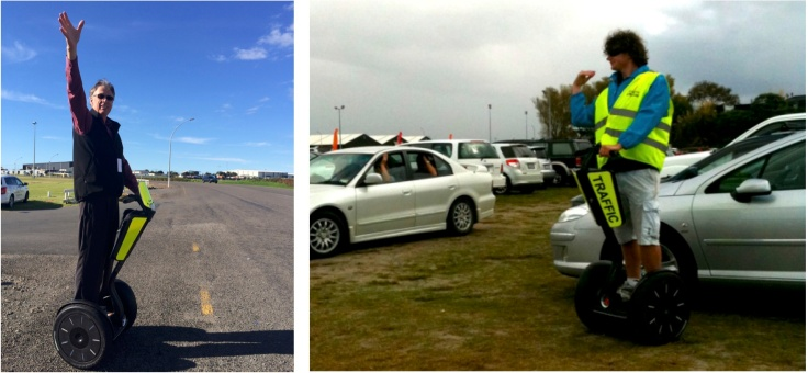 Left: Graeme Martin directing traffic outside the 2014 Tauranga Home Show. Right: staff directing traffic at the 2010 Tauranga Home Show.