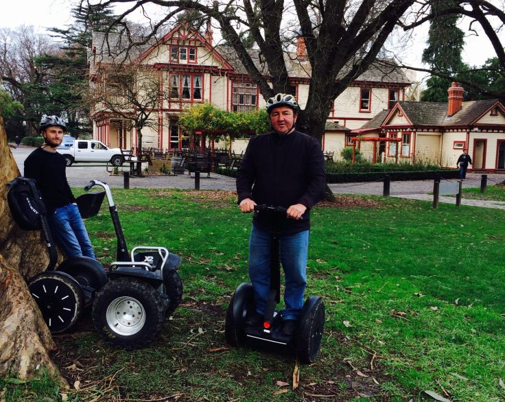 Graeme Gordon on a new Segway i2 SE in front of Christchurch's historic Riccarton House. Originally home to the Deans family, the home is on an estate of 12 hectares of parkland and gardens close to the city centre, and is open to visitors.