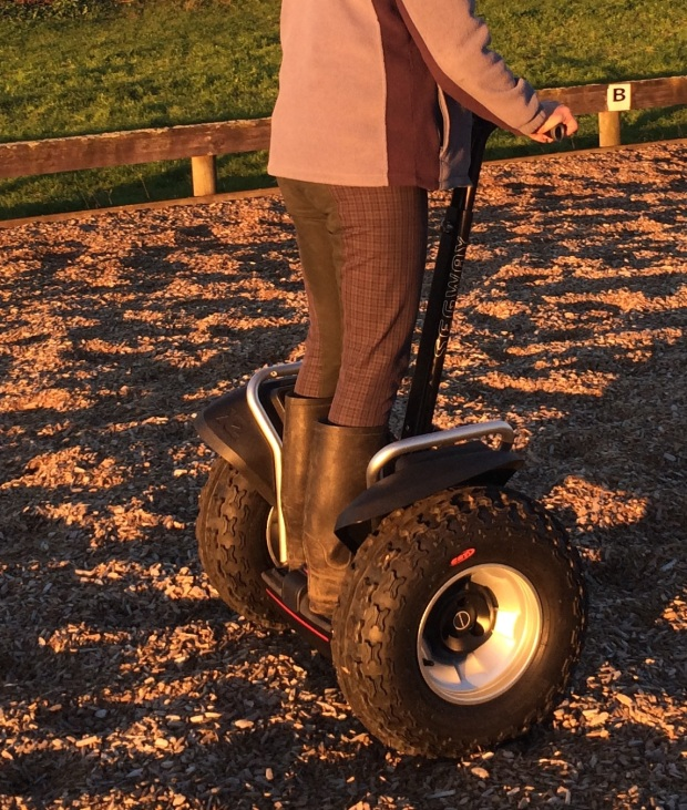 Segway x2 SE on a dressage arena that has wood chips on the surface