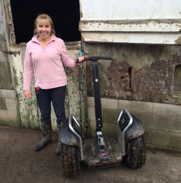 Anne Watts with her Segway x2 SE on her dairy farm and equine property in Karaka, Auckland