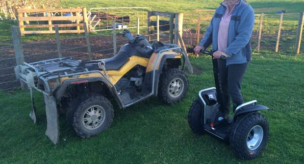 The Segway x2 SE and a quad bike - two very useful vehicles for Kiwi farmers.