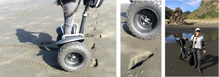Segway XT on the famous black sands of Karekare beach, north of Auckland (New Zealand)
