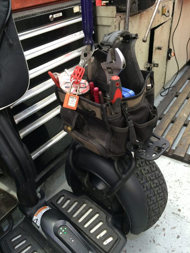 Tool bag on the Segway PT's Universal Cargo Plate accessory.
