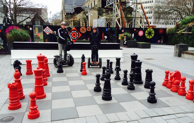 Giant chess pieces and Segway PTs in Christchurch, New Zealand