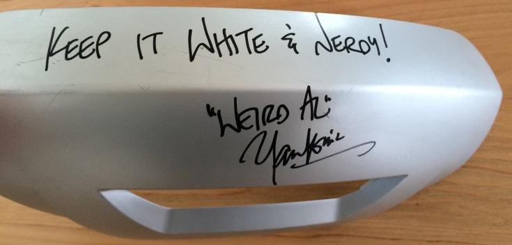 Weird Al signs a Segway Splash Guard for Segway New Zealand