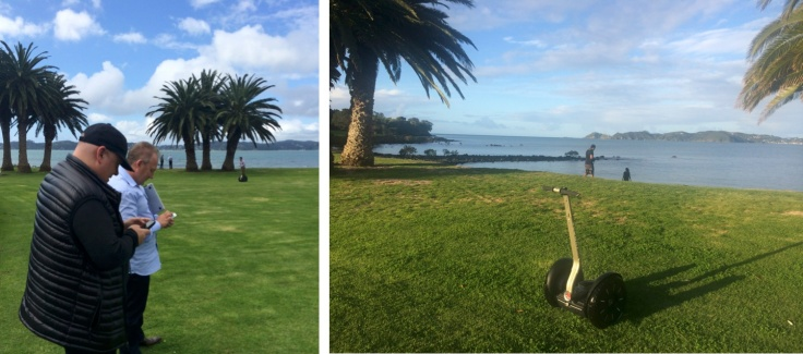 Left: Andy Lark and Rod Drury tweet as a Segway PT rider glides by in the distance. Right: Sunset in the beautiful Bay of Islands as Morgo 2014 draws to a close.