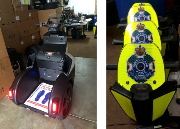 (left) SE-3 Patroller; (right) Segway x2 SE Patroller front shields lined up for use by Queensland Police officers