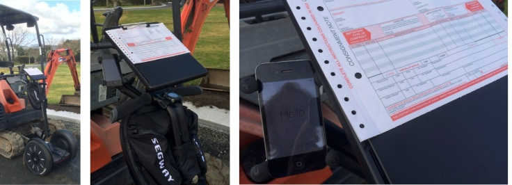 Keeping track on a worksite with a Segway PT fitted with smartphone holder and clipboard case