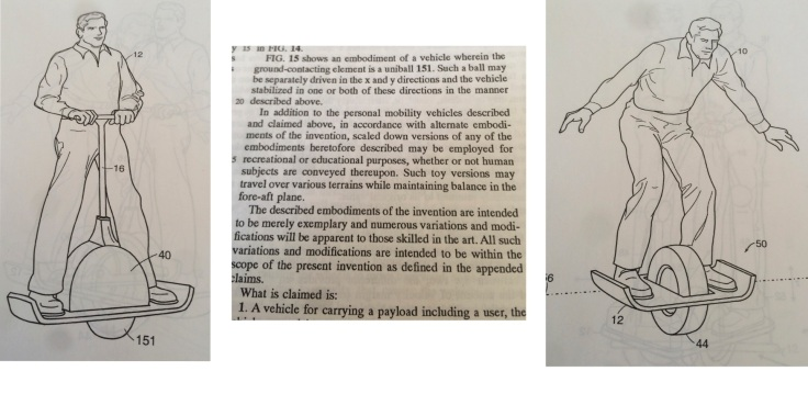 Excerpts from one of Dean Kamen's original patents underpinning the Segway PT showing uniball and one-wheeled variants, and describing uses ranging from transporting people to educational toys.