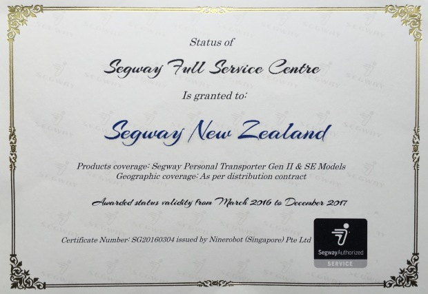 Full Service Certificate Segway NZ